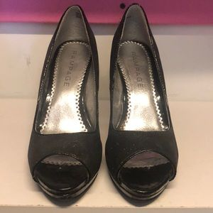Black Sparkly Open Toe Heel from Rampage